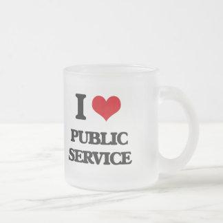 I Love Public Service Frosted Glass Mug