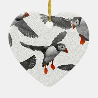 I Love Puffins! Ceramic Heart Decoration