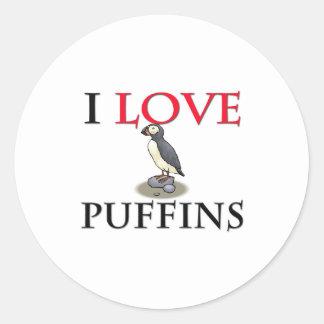 I Love Puffins Classic Round Sticker