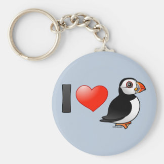I Love Puffins Key Ring