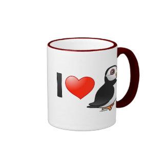 I Love Puffins Ringer Coffee Mug