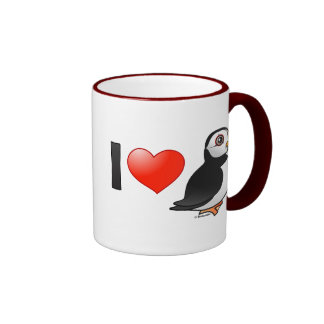 I Love Puffins Ringer Mug