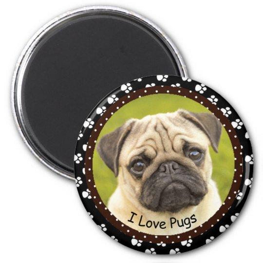 I love Pugs  2  Magnet