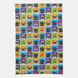 I love Pugs Blue Purple Lime Orange Squares Tea Towel