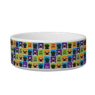 I Love Pugs Color Squares Blue, Purple, Orange Bowl