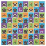 I Love Pugs Colour Squares Large Pattern Fabric