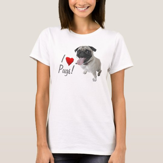 I love Pugs photo T-shirt
