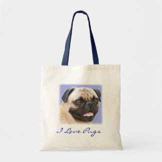 I Love Pugs Portrait Canvas Budget Totebag