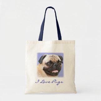 I Love Pugs Portrait Canvas Budget Totebag Budget Tote Bag