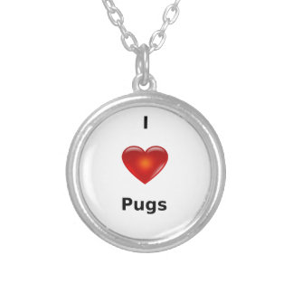 I love Pugs Silver Plated Necklace