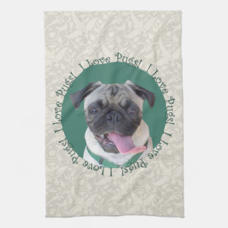 I Love Pugs! Tea Towel