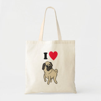 I Love Pugs Tote Bag!