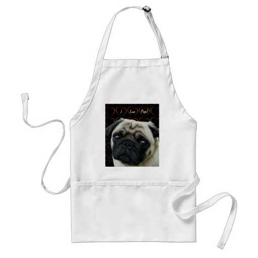 I Love Pugs with Hearts Apron