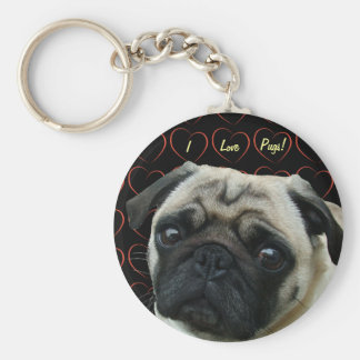 I Love Pugs with Hearts Basic Round Button Key Ring