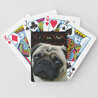 I Love Pugs with Hearts Bicycle Playing Cards