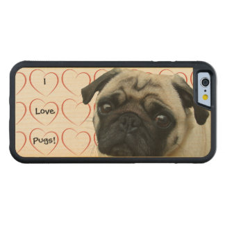 I Love Pugs with Hearts Carved Maple iPhone 6 Bumper Case