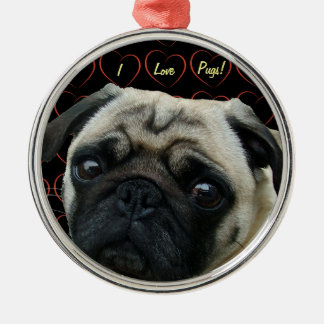 I Love Pugs with Hearts Christmas Ornament