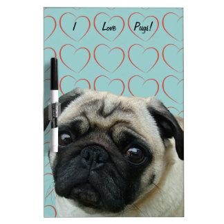 I Love Pugs with Hearts Dry Erase Board
