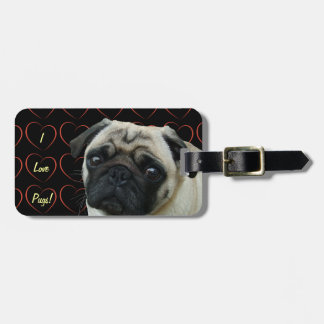 I Love Pugs with Hearts Luggage Tag