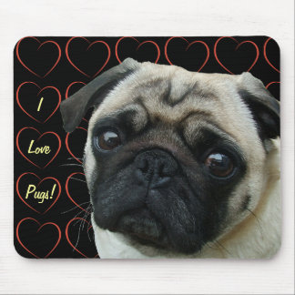 I Love Pugs with Hearts Mouse Mat
