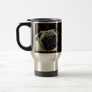 I Love Pugs with Hearts Travel Mug
