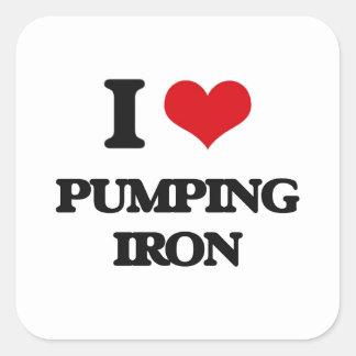 I love Pumping Iron Square Sticker