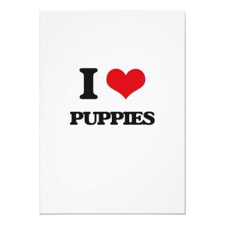 I Love Puppies 13 Cm X 18 Cm Invitation Card