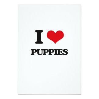 I Love Puppies 9 Cm X 13 Cm Invitation Card