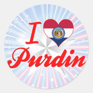 I Love Purdin, Missouri Round Sticker