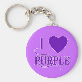 I Love Purple with Purple Heart Key Ring