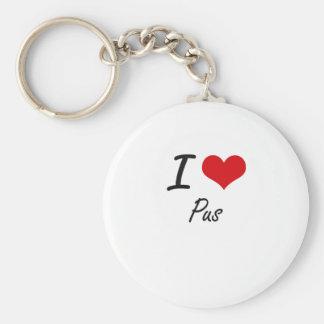 I Love Pus Basic Round Button Key Ring