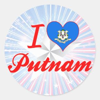 I Love Putnam, Connecticut Round Sticker