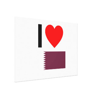 i love qatar stretched canvas print