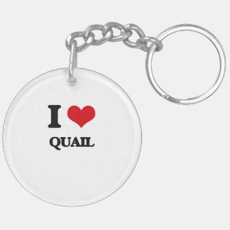 I Love Quail Round Acrylic Keychain