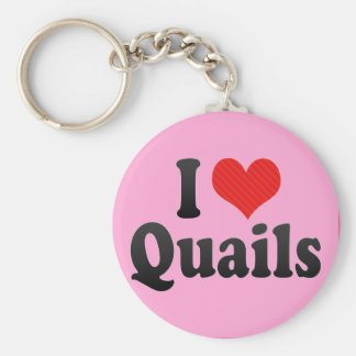 I Love Quails Basic Round Button Key Ring