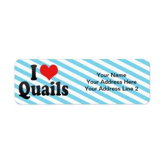 I Love Quails Return Address Label