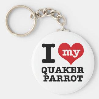I Love quaker parrot Keychains