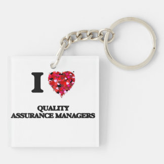 I love Quality Assurance Managers Double-Sided Square Acrylic Key Ring