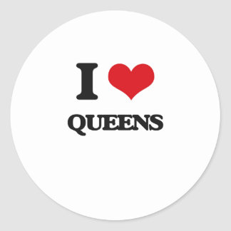I love Queens Round Stickers