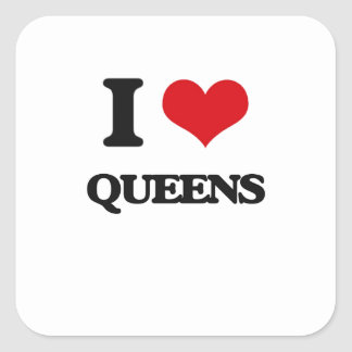 I love Queens Square Sticker