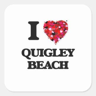 I love Quigley Beach Connecticut Square Sticker