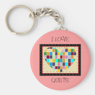 I LOVE QUILTS Keychain