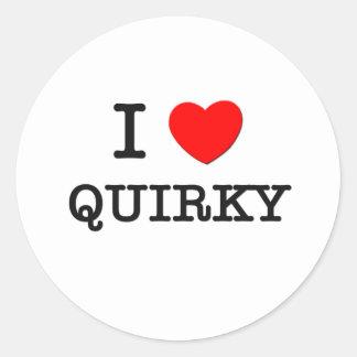I Love Quirky Round Sticker