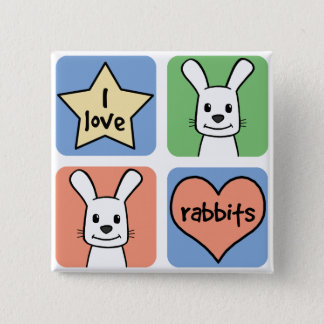 I Love Rabbits 15 Cm Square Badge