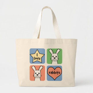 I Love Rabbits Large Tote Bag