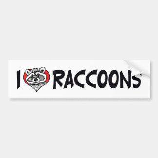 I Love Raccoons Bumper Sticker Car Bumper Sticker