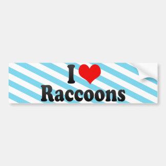 I Love Raccoons Car Bumper Sticker