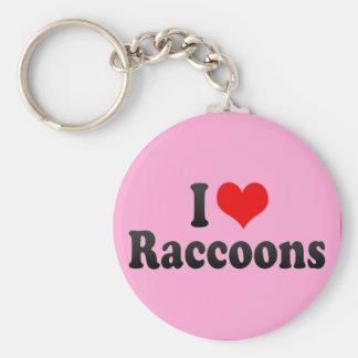 I Love Raccoons Key Ring