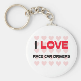 I LOVE RACE CAR DRIVERS BASIC ROUND BUTTON KEY RING