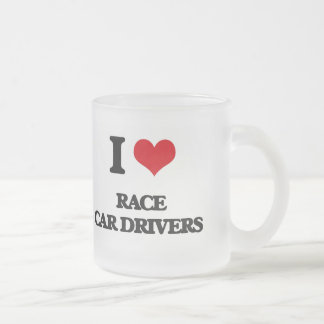 I love Race Car Drivers Frosted Glass Mug